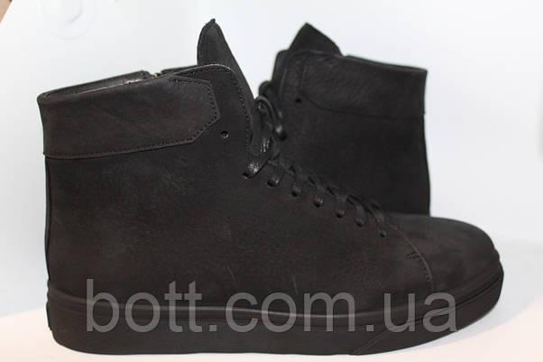 Синие кожаные зимние ботинки, фото 3