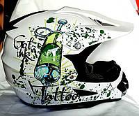 Кроссовый мото шлем Tatoo Белый размер S, M
