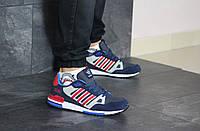 Мужские кроссовки Adidas ZX 750, кожа, пена, синие с красным.