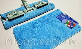 Запасная тряпка из микрофибры для полотеров с зажимами 40 х 23 см (голубая)