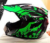Кроссовый мото шлем чёрно зелёный Virtue размер S, M