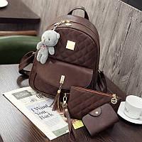 Рюкзак стеганый 3в1 с брелочком коричневый