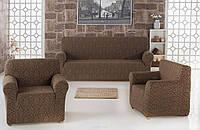 Чехол на диван и два кресла Жаккард Коричневый Milano Karna Турция 50033
