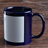 Чашка сублимационная цветная с полем КОБАЛЬТ, 330 мл