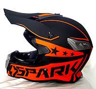 Шлем кроссовый Чёрно оранжеый Spark Black Star + текстильная маска, фото 1