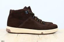 Ботинки мужские замшевые, зимние, на шнурках, коричневые