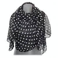 Женский большой шарф черный в белый горошек