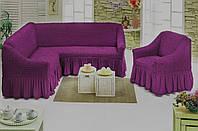 Чехол с юбкой на угловой диван и кресло Баклажановый Evibu Турция 50108