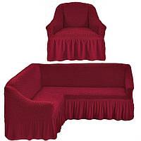 Чехол с юбкой на угловой диван и кресло Бордовый Evibu Турция 50091
