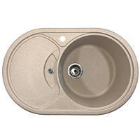 Мойка для кухни из гранита 780*500 мм овальная (бежевая) кепка AVANTI 780