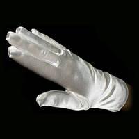 Перчатки атласные короткие белые