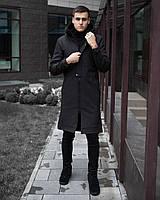 """Молодежное демисезонное не промокаемое мужское пальто Soft Shell """"Бали"""" с капюшоном черное"""