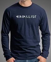 """0035-150-LS NY Мужская футболка с длинными рукавами """"МИНИМАЛИСТ"""" темно-синяя"""