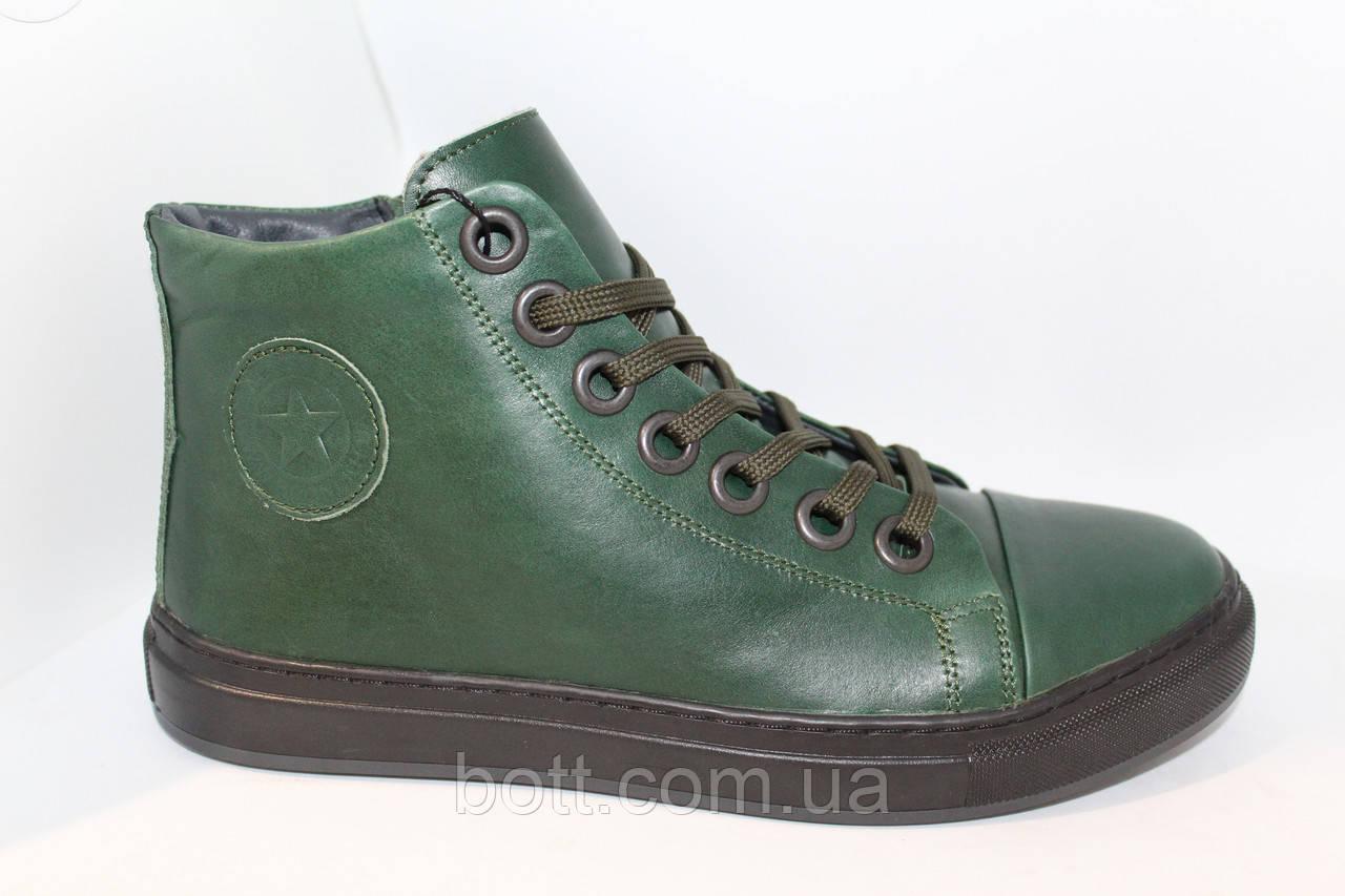 Зеленые кожаные зимние ботинки