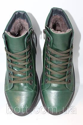 Зеленые кожаные зимние ботинки, фото 3