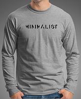 """Модная футболка  мужская с длинными рукавами с принтом """"МИНИМАЛИСТ"""""""