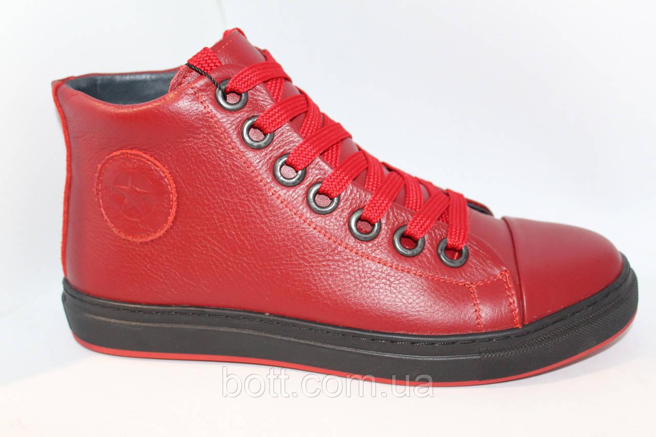 Красные кожаные зимние ботинки