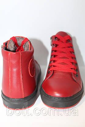 Красные кожаные зимние ботинки, фото 3