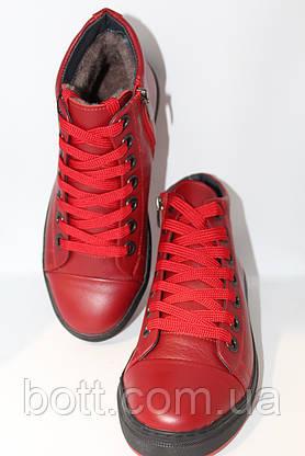 Красные кожаные зимние ботинки, фото 2