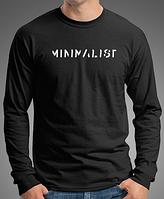 """0035-150-LS-BK Мужская футболка с длинными рукавами """"МИНИМАЛИСТ"""" черная"""