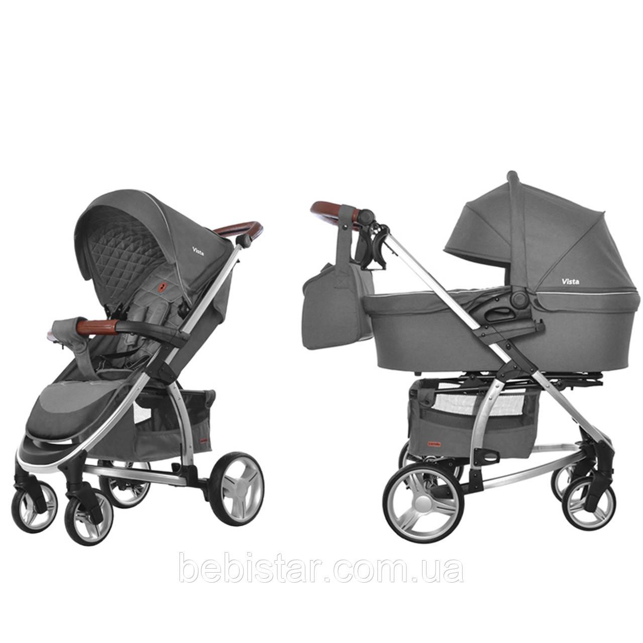 Универсальная детская коляска темно-серая Carrellо Vista 2 в 1 люлька чехол на ножки матрасик сумка дождевик