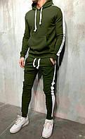 Мужской зимний спортивный костюм с лампасами/белыми полосками, на флисе