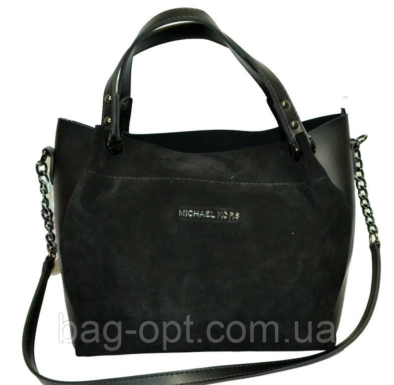 Женская сумка черная из натуральной замши Michael Kors (27*32*14)