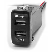 Роз'єм USB у штатну заглушку Carav 17-103 Toyota/Lexus / 2 порти: аудіо + зарядний пристрій