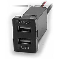 Роз'єм USB у штатну заглушку Carav 17-104 Toyota/Lexus / 2 порти: аудіо + зарядний пристрій