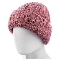 Шапка женская с отворотом №75 размер 56-59 розовая