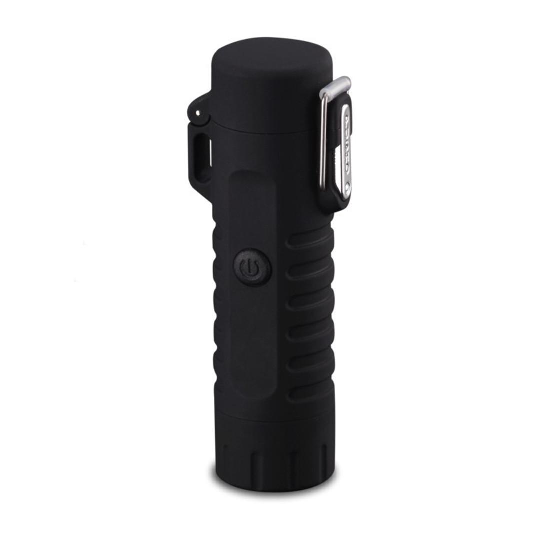 Водонепроницаемая электроимпульсная USB зажигалка + фонарик (черный)