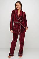 Бордовый велюровый  домашний костюм