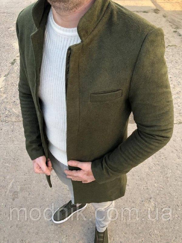 Мужское стильное пальто (зеленое) - Турция
