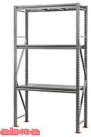 Стеллаж металлический для склада/магазина/гаража SN 3500х1230х500,оцинкованный,3 полки металл, до 1100 кг/ярус