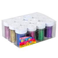 Глиттер блестки, 12 цветов для ногтей декора, 12шт. (03980)