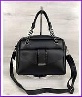 Женская маленькая сумка через плечо клатч черного цвета