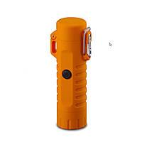 Водонепроницаемая электроимпульсная USB зажигалка + фонарик (оранжевый), фото 1