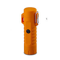 Водонепроницаемая электроимпульсная USB зажигалка + фонарик (оранжевый)