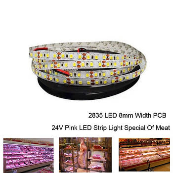 Led лента для подсветки мясных витрин розовая GS2835 -120LED/M  WN  14W/м  24V  IP20