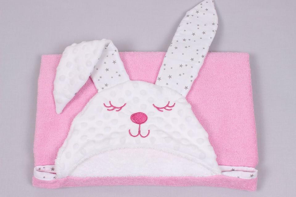Полотенце для купания зайка  детское розовое