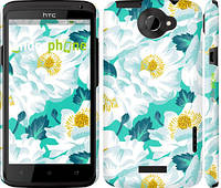 "Чехол на HTC One X цветочный узор м5 ""2501c-42"""