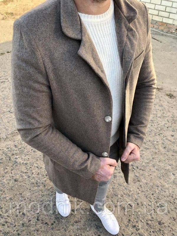 Мужское стильное пальто (серое) - Турция