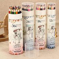 Карандаши цветные 12 цветов Aihao в тубусе 9020-12