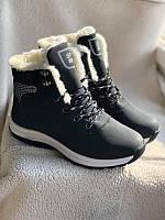 Зимние ботинки, кроссовки черного цвета с мехом, фото 1
