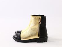 Демисезонные кожаные ботиночки, черный с золотом