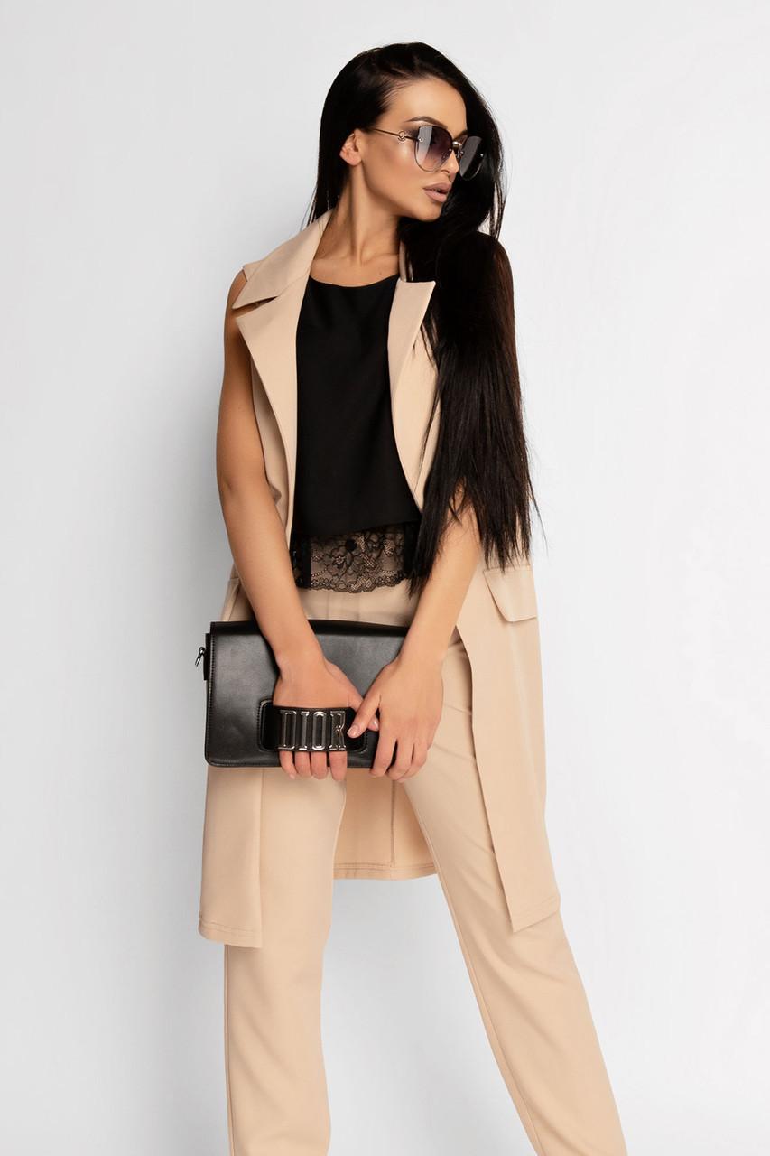 (S, M, L, XL) Жіночий бежевий брючний костюм Edras