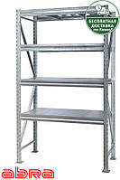 Стеллаж металлический для склада/магазина/гаража SN 4000х1230х900,оцинкованный,4 полки металл, до 1100 кг/ярус