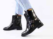 Демисезонные черные ботинки кожа наплак