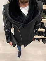 Куртка пальто мужская зимняя осення с мехом на молнии стильная чёрная