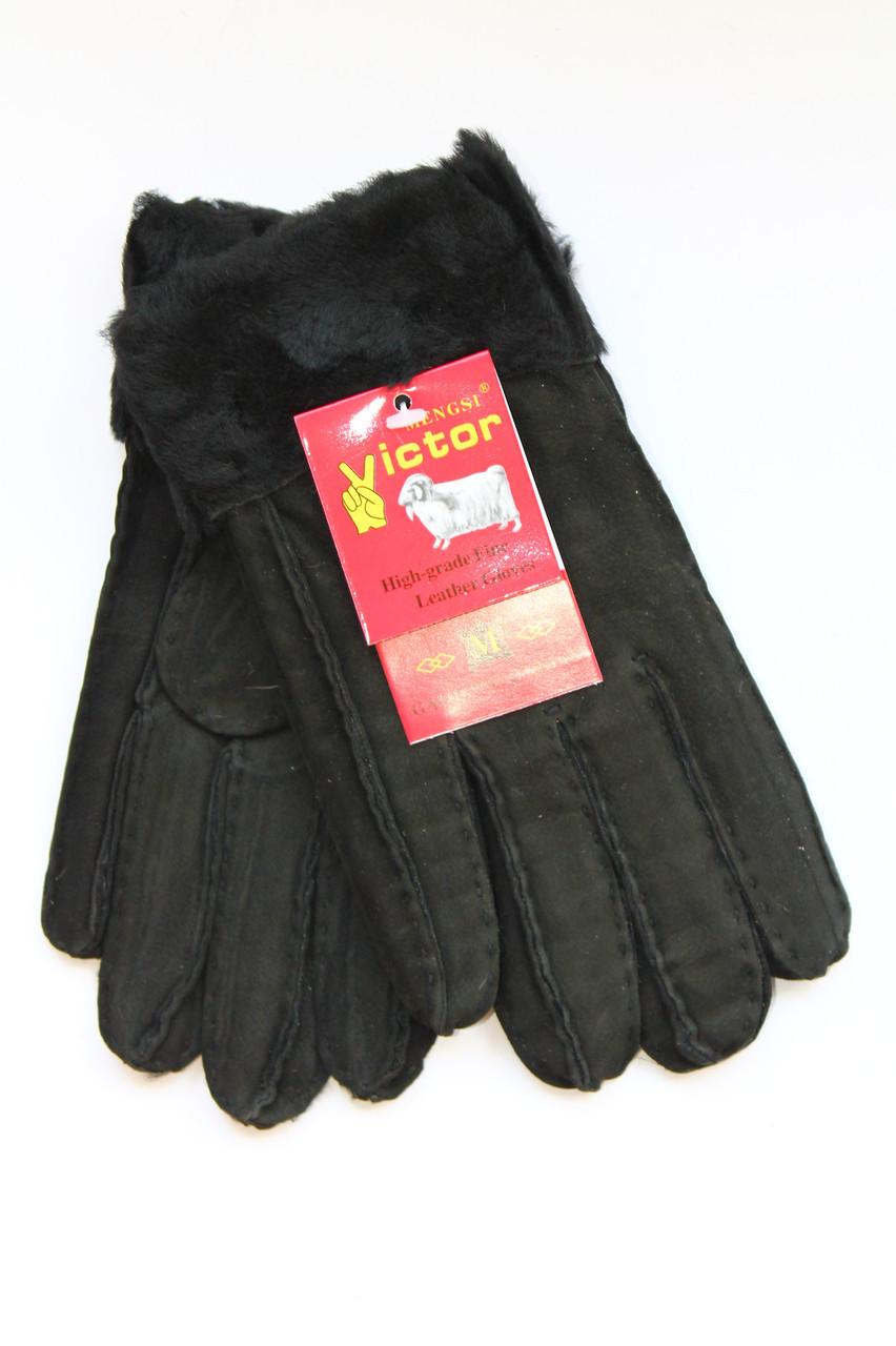 Женские перчатки из дубленки чорные